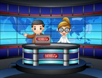 News anchor on television. Illustration of News anchor on television Royalty Free Stock Photos