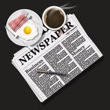 Illustration of newspaper with black coffee and breakfast Stock Photo