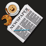 Illustration of newspaper with cappuccino cup and croissant Stock Images