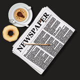 Illustration of newspaper with cappuccino cup and doughnut. Top view of newspaper with cappuccino cup and doughnut stock illustration