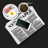 Illustration of newspaper and mobile phone with black coffee and Royalty Free Stock Image