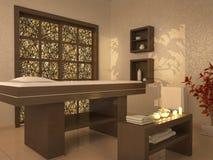 Illustration of nice massage room in spa saloon Stock Image