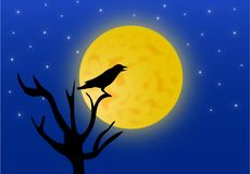 Illustration of night background with crow and full moon stock illustration