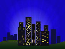 Illustration Of Night Cityscape Stock Photos