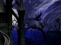 Illustration of night forest with full moon, castle and ravens Royalty Free Stock Photography