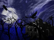 Illustration of night forest with full moon, a castle and ravens Royalty Free Stock Images