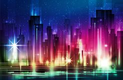 Vector illustration of a night glowing neon city a multi-storey group of buildings in a bright glow. Illustration of a night glowing neon city a multi-storey Stock Images