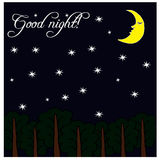 Illustration with night, moon, stars and trees Stock Photo