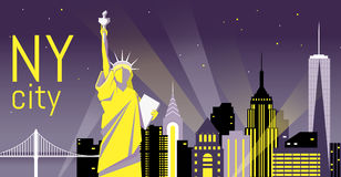 Illustration of night New York City, flat landscape.Night view. Illustration of New York City, landscape of buildings and the Statue of Liberty. Night view. Day royalty free illustration