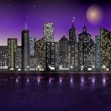 Illustration of night scene of city with illuminated building Stock Photo