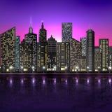 Illustration of night scene of city with illuminated building Royalty Free Stock Photo