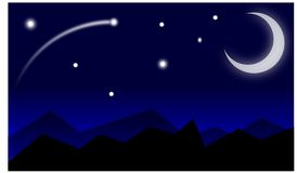 Illustration night view with sky moon and stars. Illustration night view with beautiful sky and moon and stars front montains stock illustration