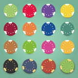 Illustration of the nine colorful poker chips Royalty Free Stock Image