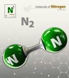 Illustration of Nitrogen Molecule isolated grey background Royalty Free Stock Photography