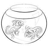 Illustration no fill color two stylized goldfish in an aquarium Royalty Free Stock Photo