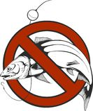 No fishing sign in circle shape vector stock illustration
