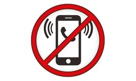 Off Mobile Sign Switch Off Phone Icon Mobile Warning Symbol. Illustration of no mobile use icon logo sign cellphone is not allowed and prohibited to use Royalty Free Stock Image