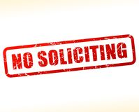 No soliciting red text stamp. Illustration of no soliciting red text stamp Stock Photography