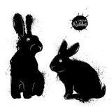 Illustration noire de deux lapins dans le style grunge Photo stock