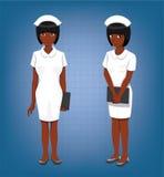Illustration noire de vecteur de bande dessinée de Full Body Poses d'infirmière Image libre de droits