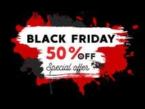 Illustration noire de vente de vendredi avec des éclaboussures de peinture Photos libres de droits
