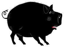 Illustration noire drôle de porc Photographie stock libre de droits