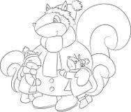 Illustration noire et blanche adorable d'un écureuil de mère étreignant ses deux enfants, en hiver, pour livre de coloriage des e illustration libre de droits