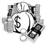 Illustration noire et blanche d'argent comptant illustration libre de droits