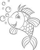 Illustration noire et blanche d'un poisson mignon, souriant, avec des bulles, parfaites pour livre de coloriage des enfants ou le illustration stock