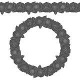 Illustration noire et blanche d'une guirlande ronde et d'un modèle sans couture des roses objet d'isolement de vecteur Image stock