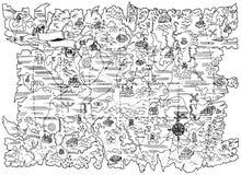 Illustration noire et blanche de carte de pirate de terre d'imagination Photographie stock
