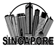 Illustration noire et blanche de cercle d'horizon de ville de Singapour Images libres de droits