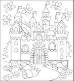 Illustration noire et blanche de château médiéval de royaume des fées pour la coloration Photos libres de droits