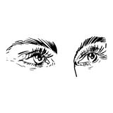 Illustration noire et blanche de mode avec l'oeil Photographie stock libre de droits