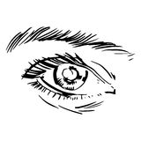 Illustration noire et blanche de mode avec l'oeil Photographie stock