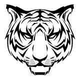 Illustration noire et blanche de Tiger Head Tribal Tattoo Vector Illustration Stock