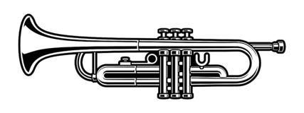 Illustration noire et blanche de trompette sur le fond blanc illustration stock