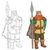Illustration noire et blanche de vecteur de bande dessinée de Viking ou de chevalier illustration de vecteur