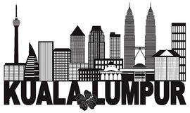 Illustration noire et blanche de vecteur de Kuala Lumpur City Skyline Text Photos libres de droits