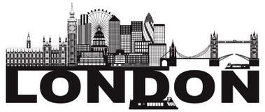 Illustration noire et blanche de vecteur des textes d'horizon de Londres illustration stock