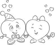 Illustration noire et blanche mignonne d'un couple de coeur, tenant des mains pour la carte de Saint-Valentin ou le livre de colo illustration libre de droits