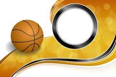 Illustration noire orange abstraite de cadre de cercle de boule de basket-ball de sport de fond Photo stock