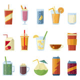 Illustration with non alcoholic drinks. Vector pictures in cartoon style Royalty Free Stock Photography