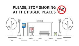 Illustration non-fumeurs de vecteur d'arrêt d'autobus Image stock