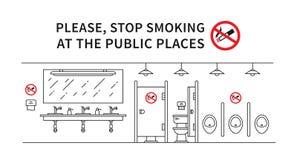 Illustration non-fumeurs de vecteur de toilettes publiques Image libre de droits