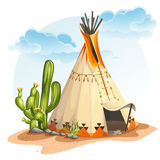Illustration of the North American Indian tipi home with cactus and stones Royalty Free Stock Photography