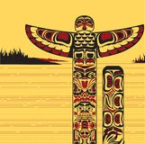 Illustration of a north American totem pole. Vector illustration of traditional tribal north American totem pole, made in Canadian native art style Royalty Free Stock Photo