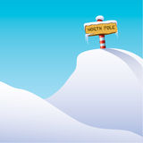 Illustration of North Pole. Illustration of the North Pole with a red and white striped post stuck into a mound of snow supporting a wooden sign marked ' North Stock Images