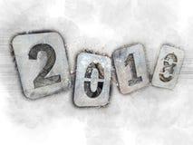 Illustration nostalgique pour les vacances de Noël, au revoir 2018 Nombres de fer sur une pile de bois de chauffage image stock