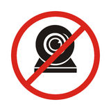 Illustration of a not allowed icon with a webcam. No webcam icon royalty free illustration